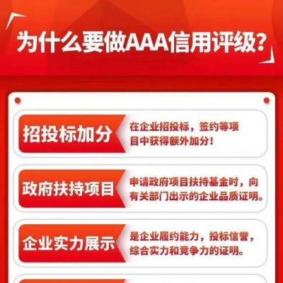 AAA信用评级认证为什么是企业必备证书,有什么好处?